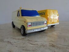 Lot of 2 Vintage 80s Ford Econoline Cargo Van from Brazil - Rare Antique Toy