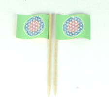 Party-Picker Blume des Lebens Regenbogen 50 St. Dekopicker Flagge Papierfähnchen