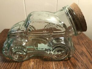 Volkswagen Clear Glass VW Bug Beetle Car Shape Jar/Canister w/Cork Lid