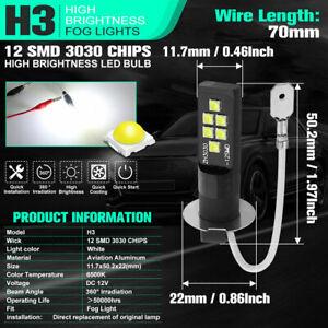 2pcs H3 LED Bulb 3030 SMD 6000K White Car Fog Lamp High Bright DRL Driving Light