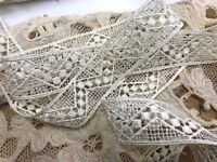 "VINTAGE 7/8"" Rayon Viscose IVORY LACE RicRac Pattern 1yd Made in U.S.A."