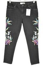 Topshop Moto SLIM LEG Black Stretch FLORAL EMBROIDERED Crop Jeans Size 12 W30