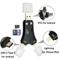 4in1 Lightning Micro SD/TF Memory Card Reader USB Adapter OTG For iOS Android UK