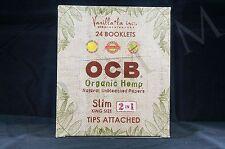 FULL BOX (24 packs) AUTHENTIC OCB ORGANIC HEMP 2 in 1 SLIM KING SIZE PAPERS