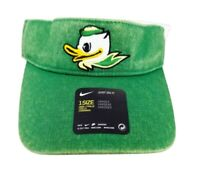 Nike Oregon Ducks Washed Denim Golf NCAA Football Green Strapback Visor New