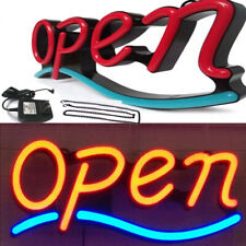 "Open Sign Led Light Animated 21""x 9"" Led Neon Sign with Hanging Chain Red & Blue"