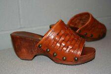 RARE Vtg 1970s Abhadabbas CLOG Woven Brown Leather Wood Heel Platform Shoe 70s