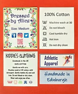 Full Colour Wash Care Labels - with hot melt adhesive backing - Personalised