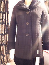 PRECIS BLACK REVERSIBLE £249  ASTRAKAN FAUX FUR / QUILTED COAT