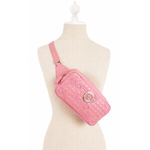 NEW $950 VERSACE Pink QUILTED LEATHER Gold MEDUSA LOGO Camera SLING BELT BAG NWT