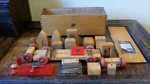 VINTAGE NICOLTOYS WOODEN CONSTRUCTION SET IN WOOD BOX - MULTIBUILDER