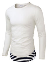 Manga larga para hombre de cuello redondo Algodón Informal Camiseta Blanco S