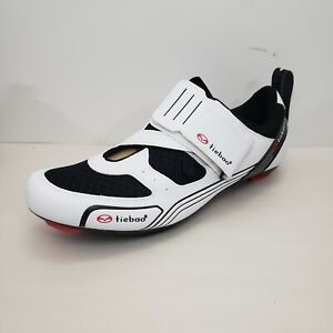 Tiebao Road Cycling Bicycle Bike Shoes Size US 13 EU 47 White Black Lightweight