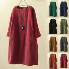 Women's Solid Dress Korean Loose 3/4 Sleeve Crew Neck Skirt Top Pullover