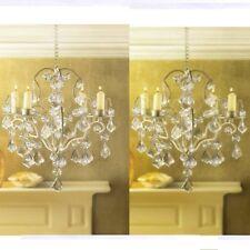 2 Jeweled Chandelier Candle Holder Ivory Wedding Hanging Decor