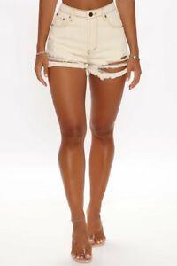 Fashion Nova Quite the Contrast Distressed Denim Shorts Tan size XL Cream