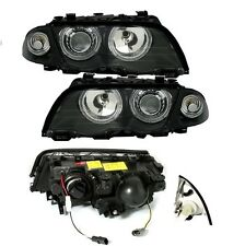 2 FEUX AVANT ANGEL EYES NOIR BMW E46 BERLINE PH 1 98-01 320 330 D 320D 330D