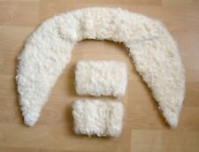 VGC Vtg 50s Rockabilly Ivory White Curly Lamb Collar Cuffs Set Great for Coat!