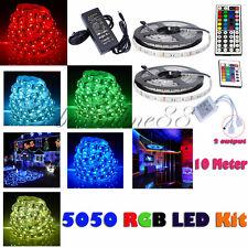 10M SMD RGB 5050 Waterproof 300 LED Strip Light 44 Key Remote 12V Power Full Kit