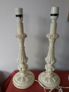 Pair of Large Ivory Carved Wooden Table Lamp Bases 41 cm high Wood PAT TESTED
