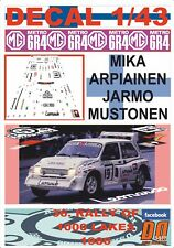 DECAL 1/43 MG METRO 6R4 M.ARPIAINEN 1000 LAKES R. 1986 DnF (01)