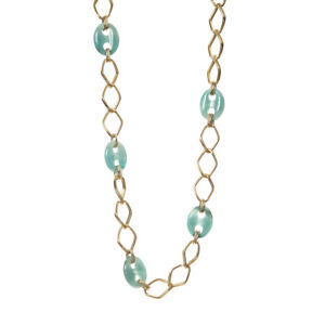 Long Necklace With Rhombuses Golden And Mesh Resin Turquoise ART.28942.1oz -