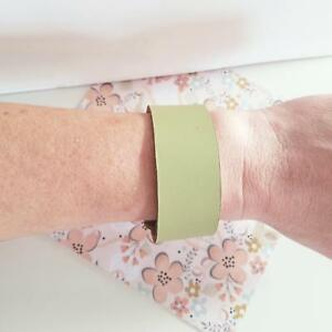 """Lime Green / Leather Cuff Bracelet / Adjustable Snap Closure / 1""""x 9"""" / FREE SHI"""