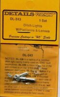 Details West 243  x HO Ditch Lights w/Platforms & Bulbs Set