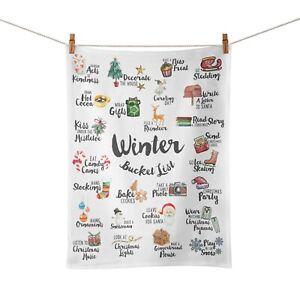 Winter Bucket List Festive Christmas Novelty Tea Towel