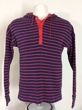 Vtg 70s 80s Duofold Striped Hoodie Blue Red M Ribbed Hooded Sweatshirt