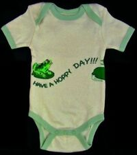 "Frog ""Have A Hoppy Day"" Natural Short Sleeve Cotton Baby One Piece 6-12 Months"