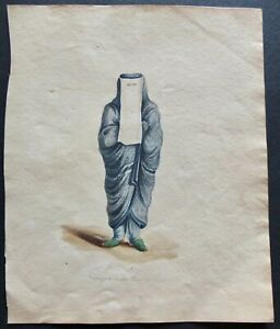 A Persian Lady Enveloped In Her Chadra Watercolor For 1821 R. Porter Travel Book