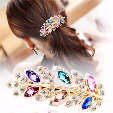 Women Hair Clip Rhinestone Barrettes Elegant Hairpins Leaf Hair Clip Headwear