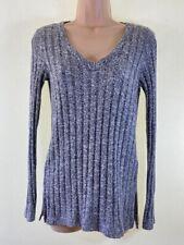 TOPSHOP grey ribbed v-neck long sleeve jumper size 8 euro 36