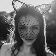 Lace Kitten ears Black Cat Ears Headband Fascinator Women Bunny Costume