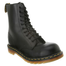 Mens Dr Martens 1919 10 Eye Lace Up Steel Toe Boot Black Fine Haircell 191911021