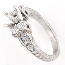 Platinum Vintage Engraved Semi Mount Diamond Engagement Ring Setting 0.55 TCW