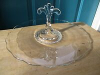 Large Center Handled Clear Glass Tray or Snack Sandwich Plate