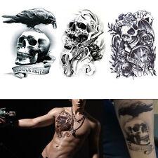 Large Temporary Tattoos Skull Gun 3d Design Body Arm Fake Transfer Tatoo Sticker