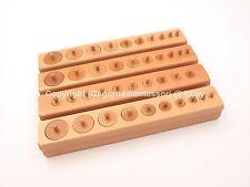 New Montessori Sensorial Material - Premium Beechwood Knobbed Cylinder Blocks