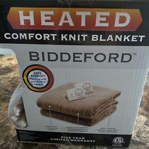 Biddeford Comfort Knit Fleece Heated Electric Blanket, Queen,  Beige