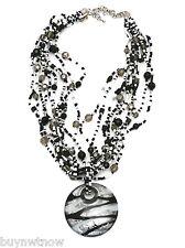 Handmade Black & White Beads Necklace Large Glass Fob + Earrings