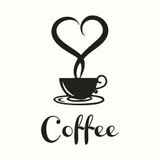 Black Love Heart Coffee Cup Sticker Removable Vinyl Art Wall Decals Home Decor