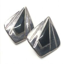Vintage Sterling Silver Earrings 925 Modernist Onyx