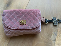 NWT Bebe Danielle pink velvet quilted belt or waist bag fanny pack, MSRP $69