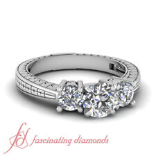 Round Cut Natural Diamond Antique Inspired Three Stone Engagement Rings 1.85 Ct