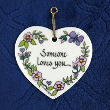 Ceramic Heart Pendant Someone Loves You K Cramer Flower Vintage 1983