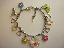 "Silver Tone Charm Bracelet ""Butterflies & Humingbird"" Lobster Clasp ext chain"
