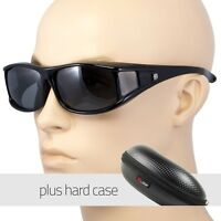 POLARIZED cover put over Sunglasses wear Rx glass fit driving LARGE Black CASE
