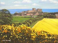 Pete Rumney Art Original Painting Summer Day Bamburgh Castle Fields Ocean View